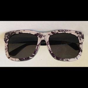 GUCCI Blue/White Floral Square Darkened Sunglasses